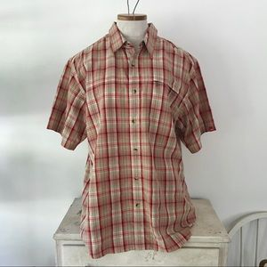 North Face wicking men's L plaid button down shirt